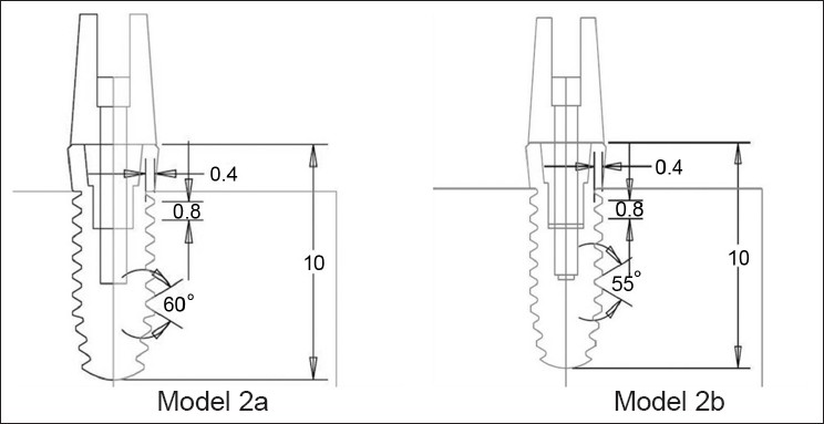 Figure 3 : Dental implant models 2a and 2b