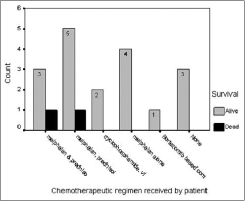 Figure 2: Patient survival on the different chemotherapeutic regimen